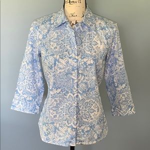 Talbots Petite small blue/white button up blouse